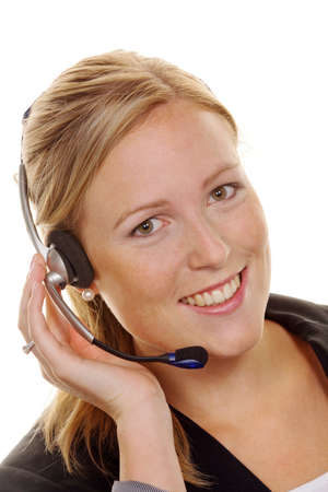 telephonist: woman with telephone headset in customer service. order acceptance and hotline