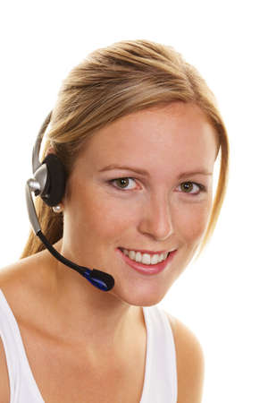 vrouw met telefoon headset in de klantenservice. orderacceptatie en hotline Stockfoto