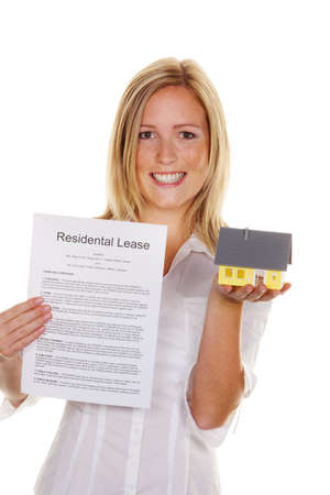 a young woman has successfully completed a lease. in english Stock Photo - 11153892
