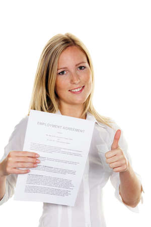 agency agreement: a young woman with a job at the interview was successful. in english