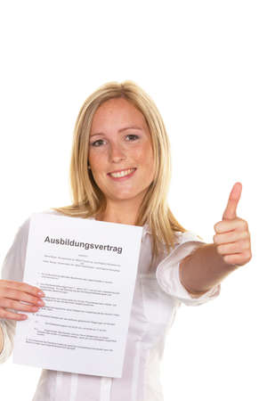 arbeitsrecht: a young woman with a training contract was successful at interview. Stock Photo