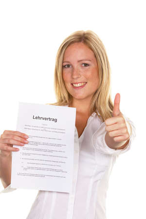 a young woman with a teaching contract was successful at interview. photo