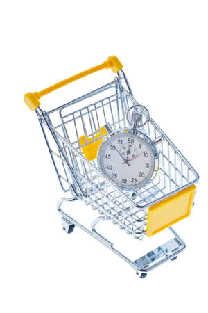 opening hours: a stopwatch is in a shopping cart, photo icon for opening times and working hours in retail.