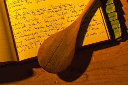 cookbook: an old handwritten cookbook with recipes. old recipes. Stock Photo