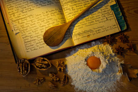an old handwritten cookbook with recipes. old recipes. Stock Photo