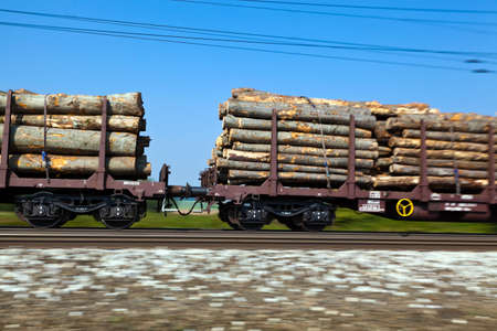 goods train: the wagons of a goods train on railroad tracks. umweltrfreundlicher transport of goods Stock Photo