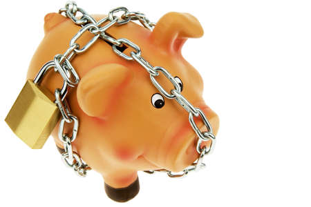 precaution: a happy piggy backed with chain and lock. security in saving.