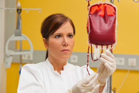own blood: a nurse in hospital with blood products. infusion of donor blood. Stock Photo