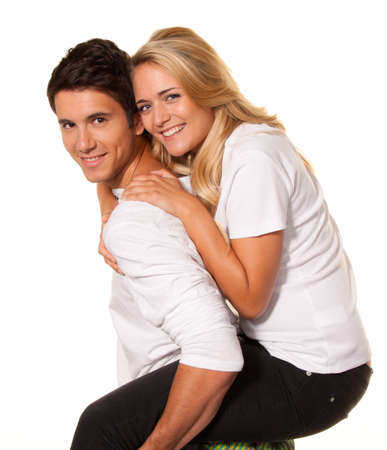 vivre: a smiling young couple have fun and joy. Stock Photo