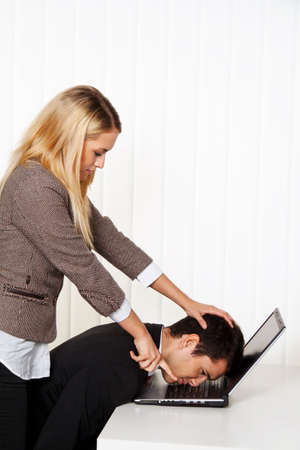 bullying in the workplace. aggression and conflict among colleagues. photo