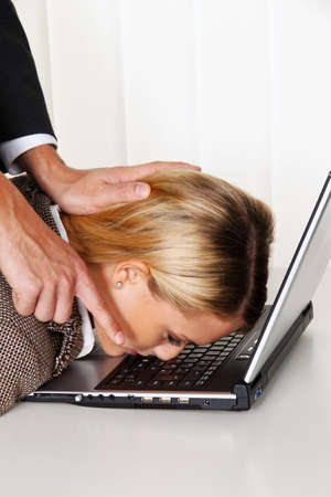 vacate: bullying in the workplace. aggression and conflict among colleagues. Stock Photo