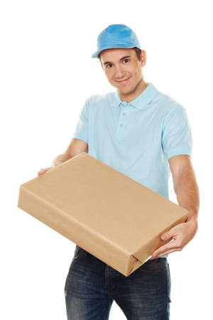 handover: a messenger of messenger delivers mail service package Stock Photo