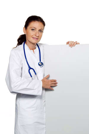 successful young doctor with a blank panel for advertising Stock Photo - 11276390