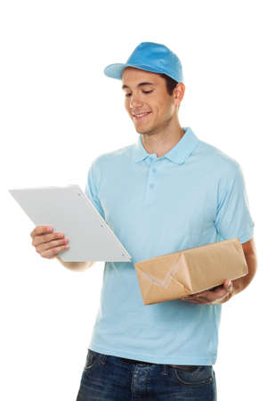 packets: a messenger of messenger delivers mail service package Stock Photo