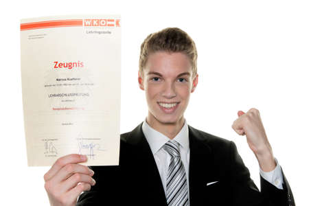 testimony: a young man is successful apprenticeship examination Stock Photo