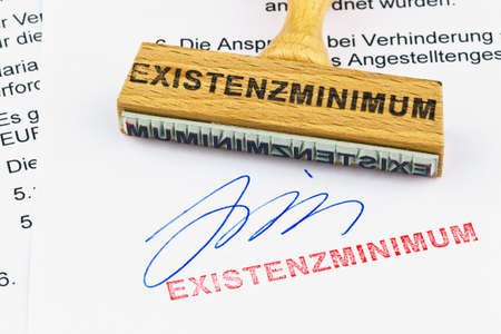 subsistence: a stamp made of wood lying on a document. inscription subsistence