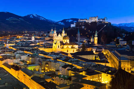 a city view of the city of salzburg in austria .. city and fortress hohensalzburg photo