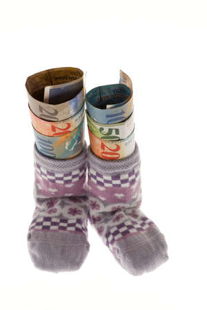 care allowance: two childrens socks with swiss francs banknotes
