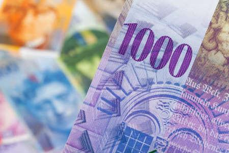swiss franc: swiss francs. money from switzerland in europe Stock Photo