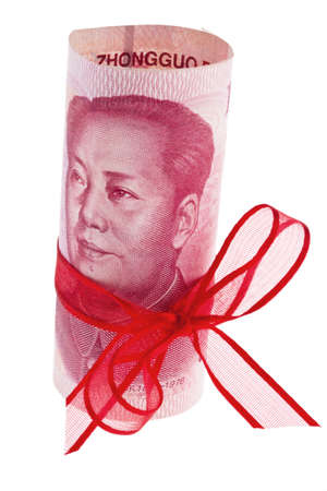 repayment: chinese yuan banknote with red ribbon white background Stock Photo