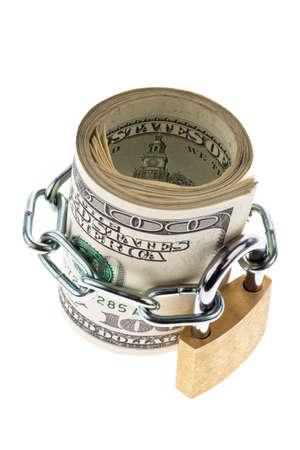 many dollar bills are locked with a lock Stock Photo - 11854488