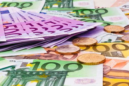 banconote euro: banconote in euro molti dell'unione europea. Archivio Fotografico