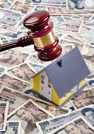 housing crisis: housing crisis in a financing in yen Stock Photo