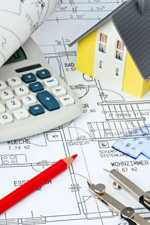 single familiy: blueprint for a house. drawings and plans of an architect. Stock Photo