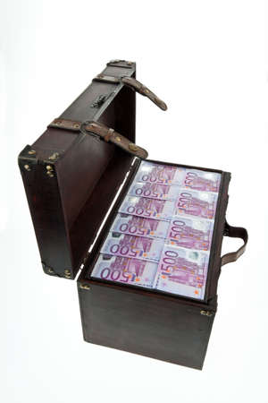 a large chest with euro banknotes. financial crisis, crisis, debt. Stock Photo - 11944221