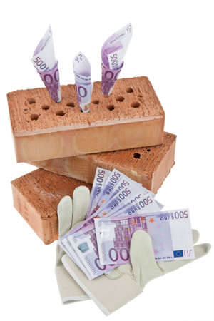 botch: symbolfoto construction, financing, building society. brick and € Stock Photo