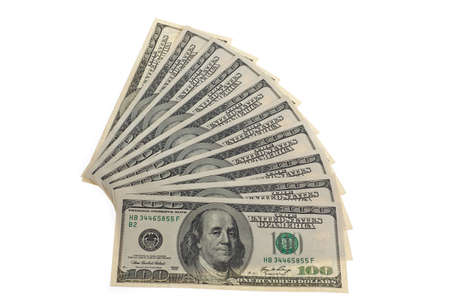 dollar bills: notes from america. american dollar bills. against a white background Stock Photo