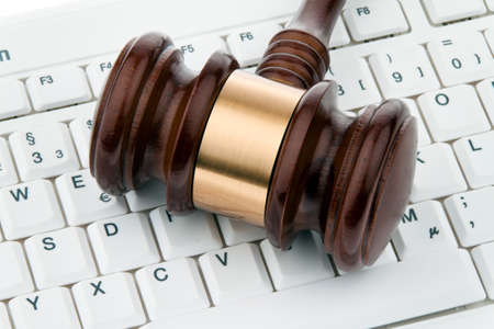 edv: gavel and keyboard. legal certainty on the internet. webauktionen. Stock Photo