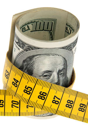 deflation: an icon image austerity package with dollar bill and tape measure Stock Photo