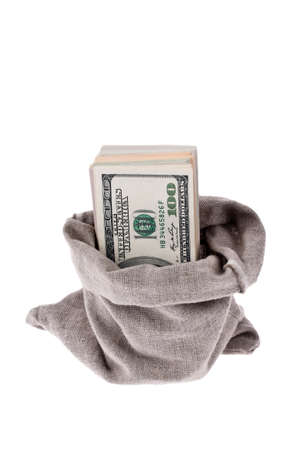 many dollar bills in a sack. on white background Stock Photo - 11944224