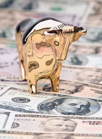share prices: many dollar bills with bull and bear. photo icon share prices