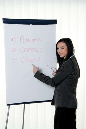 coach with a flip chart in german. training and education Stock Photo - 12080072