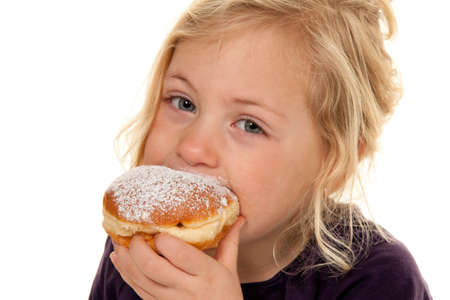 donut: child in the carnival with donuts. donuts. against a white background