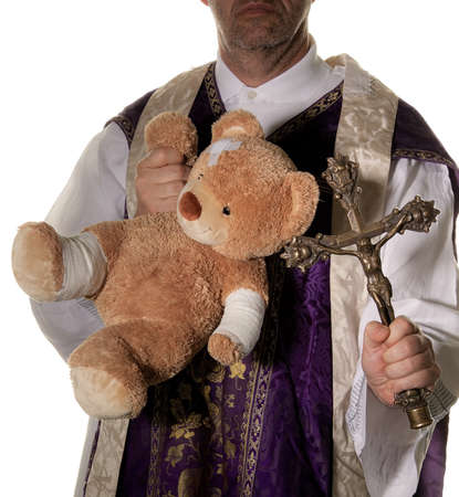 abuser: symbol for abuse in the church. against a white background Stock Photo