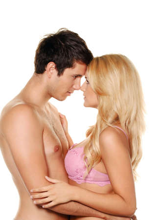 couple has fun and joy. love, eroticism and tenderness in everyday life. Stock Photo - 12080663