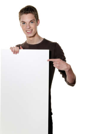 demo: a young man a wake of empty poster announcement Stock Photo