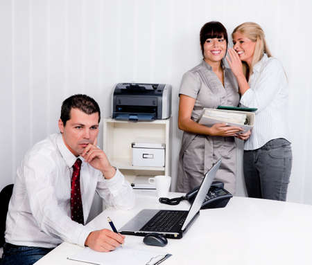 bullying in the workplace an office. , laugh at a colleague Stock Photo - 12080075
