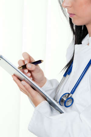 klinik: doctor at the hospital and diagnostic krankenakt Stock Photo