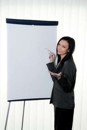 coach before empty flipchart on education and training Stock Photo - 12080063