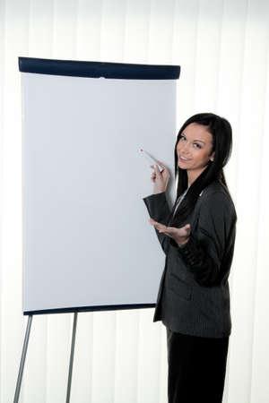 coach before empty flipchart on education and training Stock Photo - 12080063