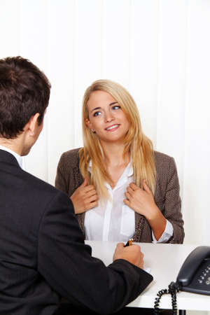 legal advice: counseling session. consultation and discussion with consultants and customers. Stock Photo