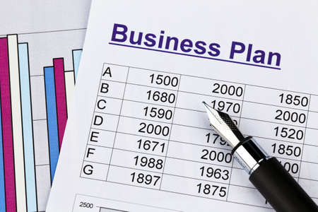 reestablishment: the business plan for a company or business establishment. planning a young entrepreneur. Stock Photo