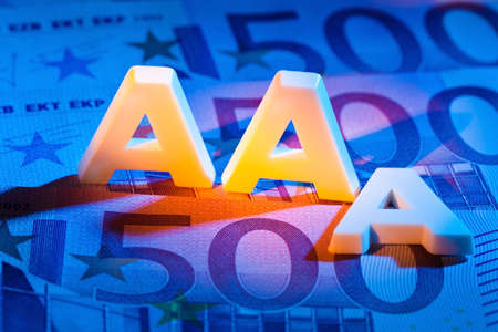 creditworthiness: a rating agency has awarded the &quot,3a&quot, letters. triple-a rating from a rating agency.