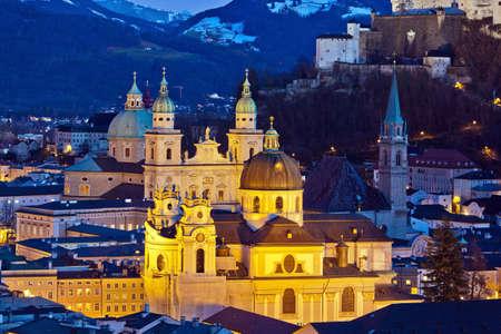 ein Blick auf die Stadt von der Stadt Salzburg in �sterreich Stadt und Festung Hohensalzburg