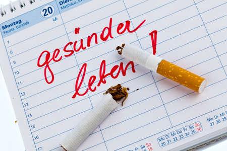 non smoking: giving up smoking  good resolution in the calendar to be non smoking  Stock Photo