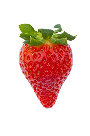eat right: a free strawberry on white background  recording in the studio of fresh fruit and vegetables Stock Photo